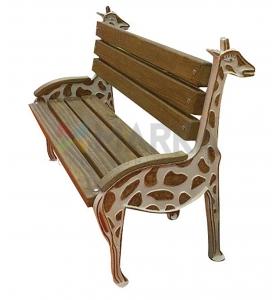 Zürafa Figürlü Ahşap Çocuk Bankı