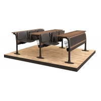 Leather coating triple sitting lecture desk