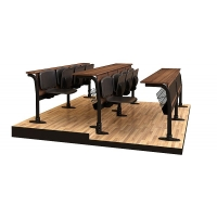 Leather coating four sitting lecture desk