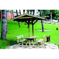 Sırtlıklı ve çatılı Ahşap Piknik Masası