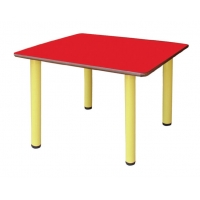Table carrée avec pieds en métal