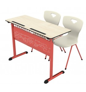 Art compact double school desk